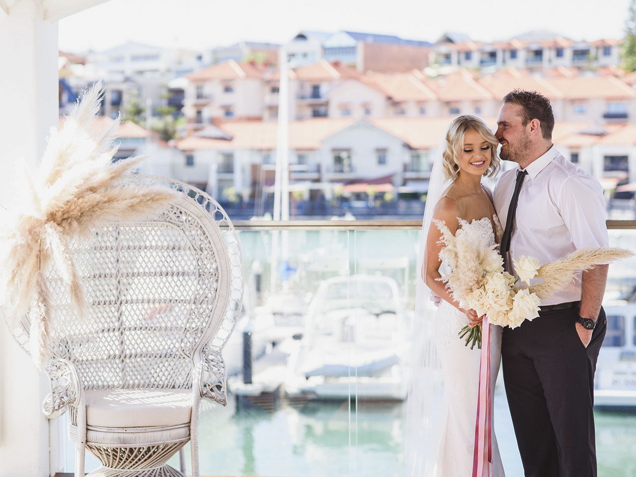 Wedding with harbour views