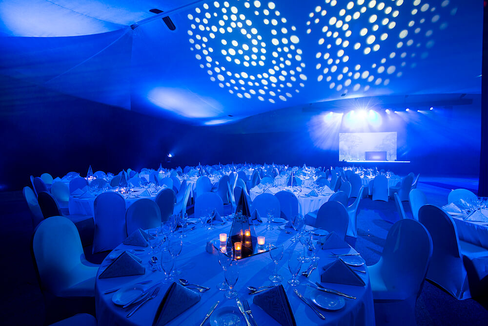 Venue Set Up Banquet Style With Lighting For A School Ball