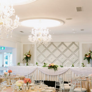 Long Table And Banquet Style Setup Inside The Function Room With Chandeliers