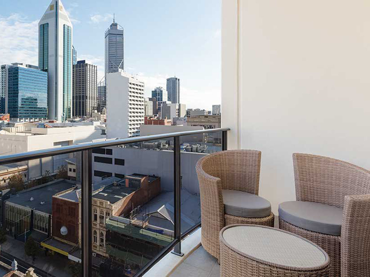 Apartment view of Perth city