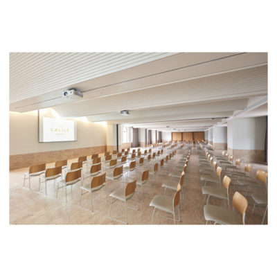Empty large conference room facing projector