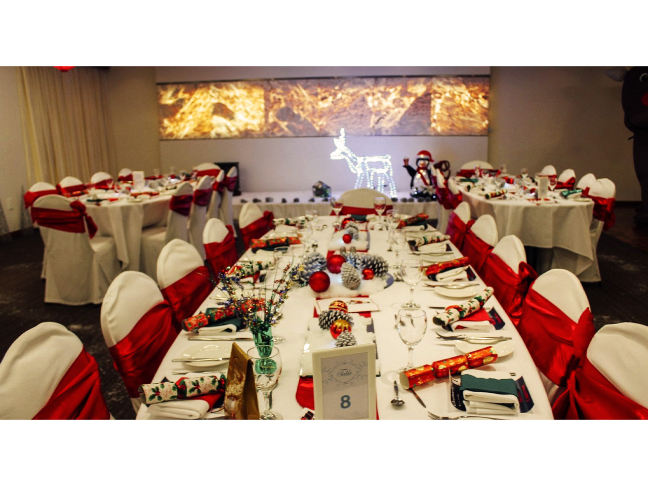 Red and white chairs at long white tables